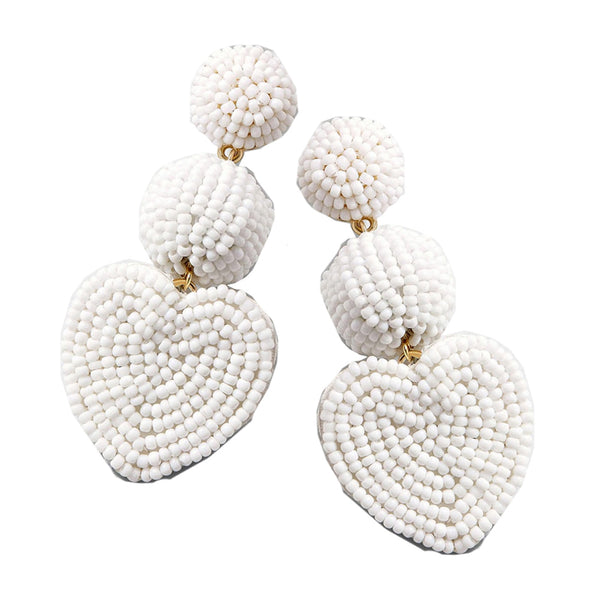Lover White Beaded Heart Earrings