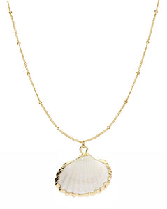 """Corfu"" Natural Scallop Shell Pendant Necklace - Bon Voyage"