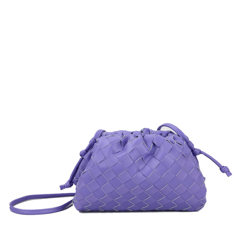 Lilac Woven Leather Clutch