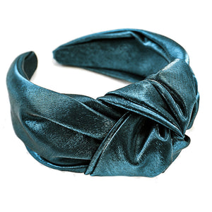Riley Emerald Green Satin Knotted Headband
