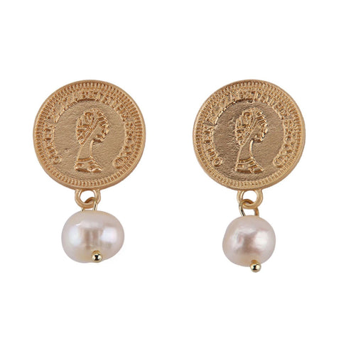 Romy Coin and Pearl Gold Earrings