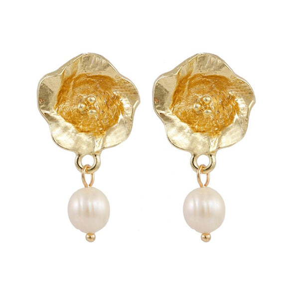 Rose Pearl and Gold Earrings