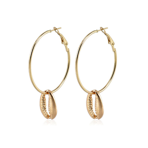 Sandbar Gold Shell Hoop Earrings