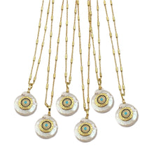 Load image into Gallery viewer, Santos Evil Eye Pearl Necklace