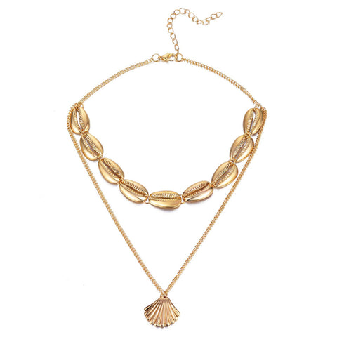 Seashell Gold Cowrie Shell Layered Necklace