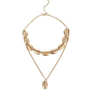 Shore Gold Cowrie Shell Layered Necklace