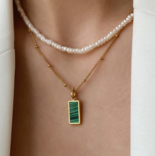 Load image into Gallery viewer, Forrest Green Malachite Charm Necklace