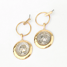Load image into Gallery viewer, Marcel Roman Coin Earrings
