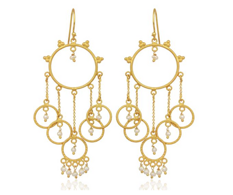 """Amalfi"" Pearl Beaded Chandelier 18K Gold Plated Earrings - Bon Voyage"
