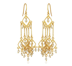 """Ravello"" Pearl Beaded Chandelier 18K Gold Plated Earrings - Bon Voyage"