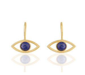 """Ankara"" Evil Eye 14k Gold Plated Natural Gemstone Earrings - Bon Voyage"