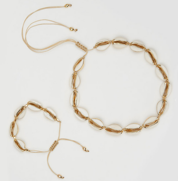 """Acapulco"" Gold Cowrie Shell Necklace - Bon Voyage"