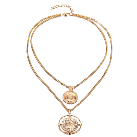 """Roman"" Layered Gold Coin Necklace - Bon Voyage"