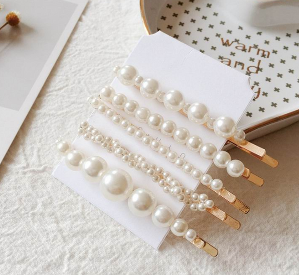 Adele Pearl Hair Slide Set