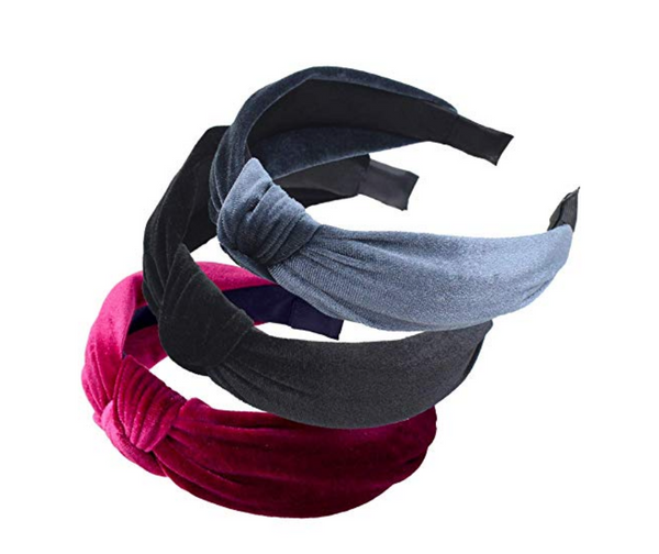 Victoria Velvet Knotted Headband Black