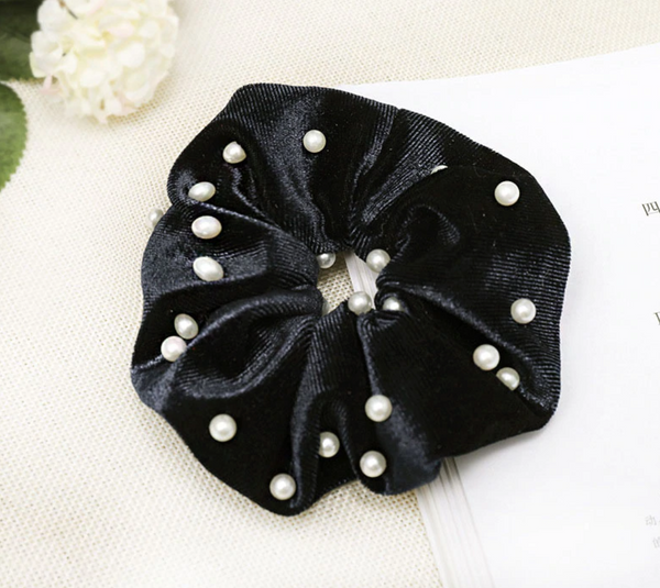 Pearly Black Velvet and Pearl Scrunchie