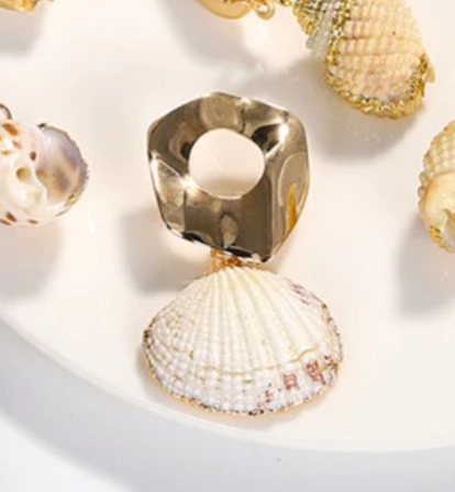 Sandy Gold Shell Earrings