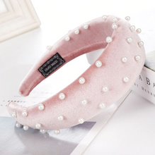 Load image into Gallery viewer, Blair Pink Pearl Velvet Headband
