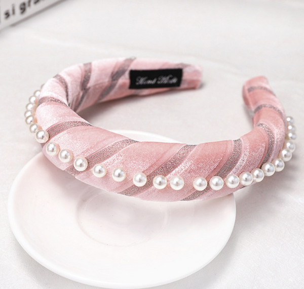 Brooklyn Pink Velvet and Pearl Headband