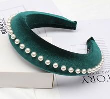 Load image into Gallery viewer, York Emerald Velvet and Pearl Headband