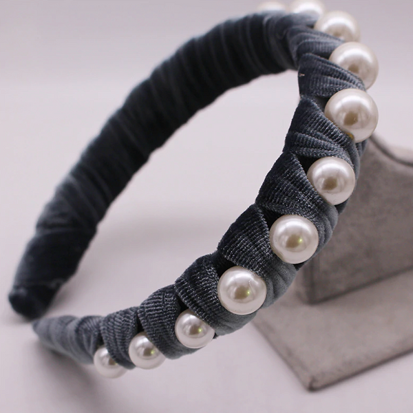 Evie Grey Pearl and Velvet Headband