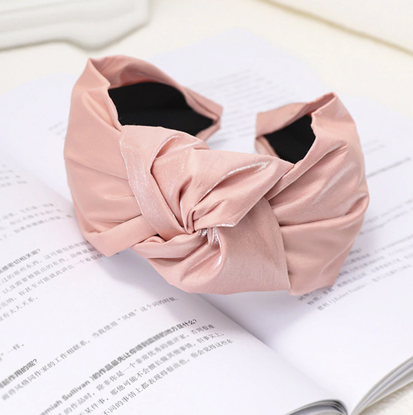 Violet Blush Shiny Satin Knotted Headband