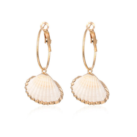 Tide Gold Shell Hoop Earrings