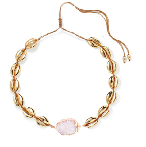 """Tulum"" Gold Pukka Shell Crystal Necklace - Bon Voyage"