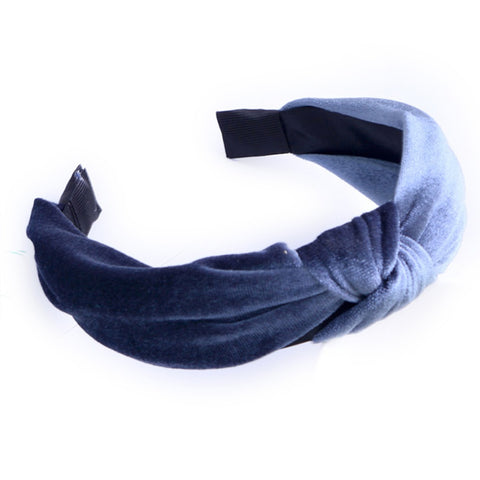 Victoria Velvet Knotted Headband Grey