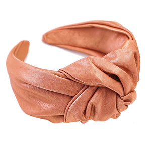 Violet Apricot Shiny Satin Knotted Headband