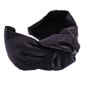 Violet Black Shiny Satin Knotted Headband