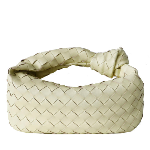 Pastel Yellow Woven Leather Bag