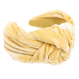 Madison Yellow Velvet Knotted Headband