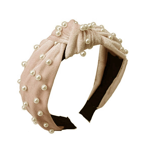 Polly Pearl Velvet Knotted Headband Beige