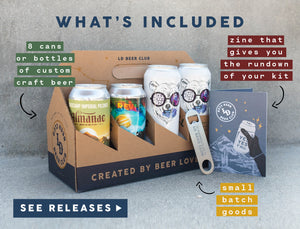 What's Included: 8 cans or bottles of custom craft beer, zine that give you the run down of your kit, small batch goods.  Click to see releases.