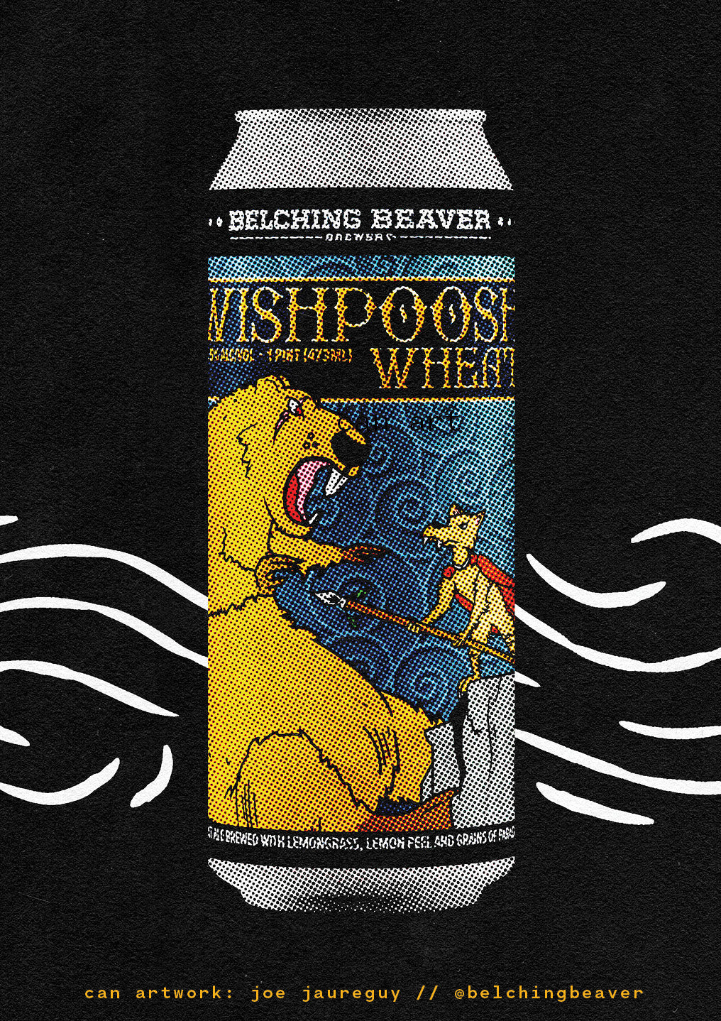 Wishpoosh Wheat, a refreshing wheat ale made with real lemons by Belching Beaver Brewery