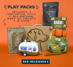 Play Packs include 2 innovative toys, 2 all-natural bags of treats and a chew.  Click to see releases.
