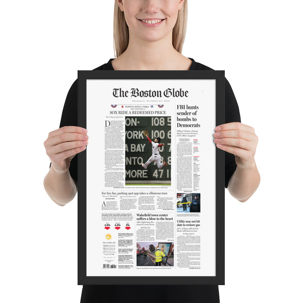 Boston Globe Front Page - October 25th, 2018