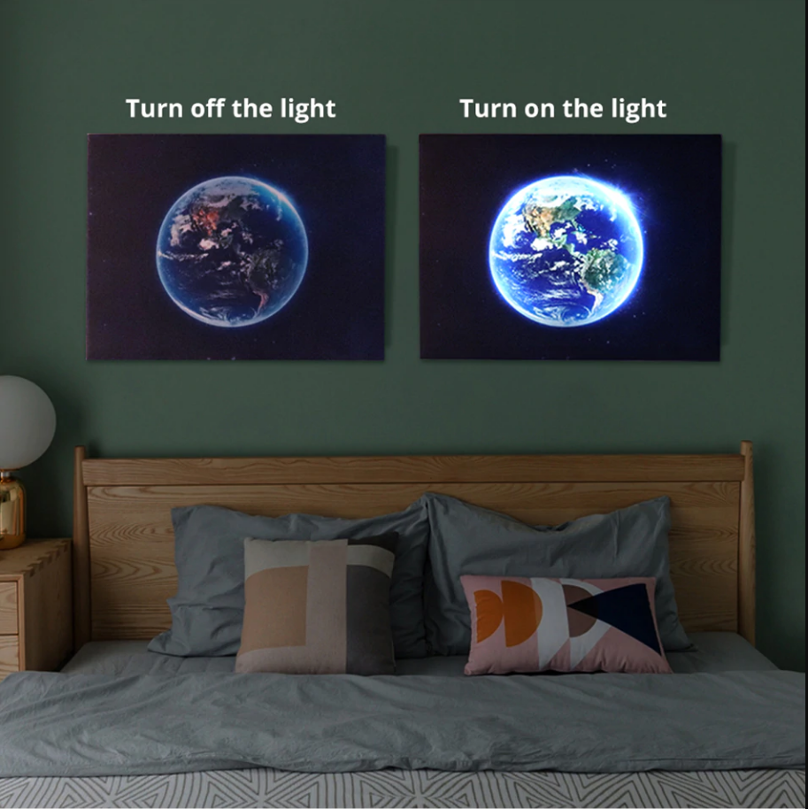 Canvas wall LED art world map
