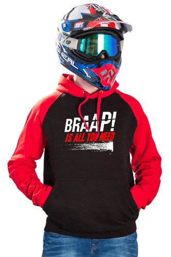 BRAAP! IS ALL YOU NEED - RED BASEBALL HOODIES