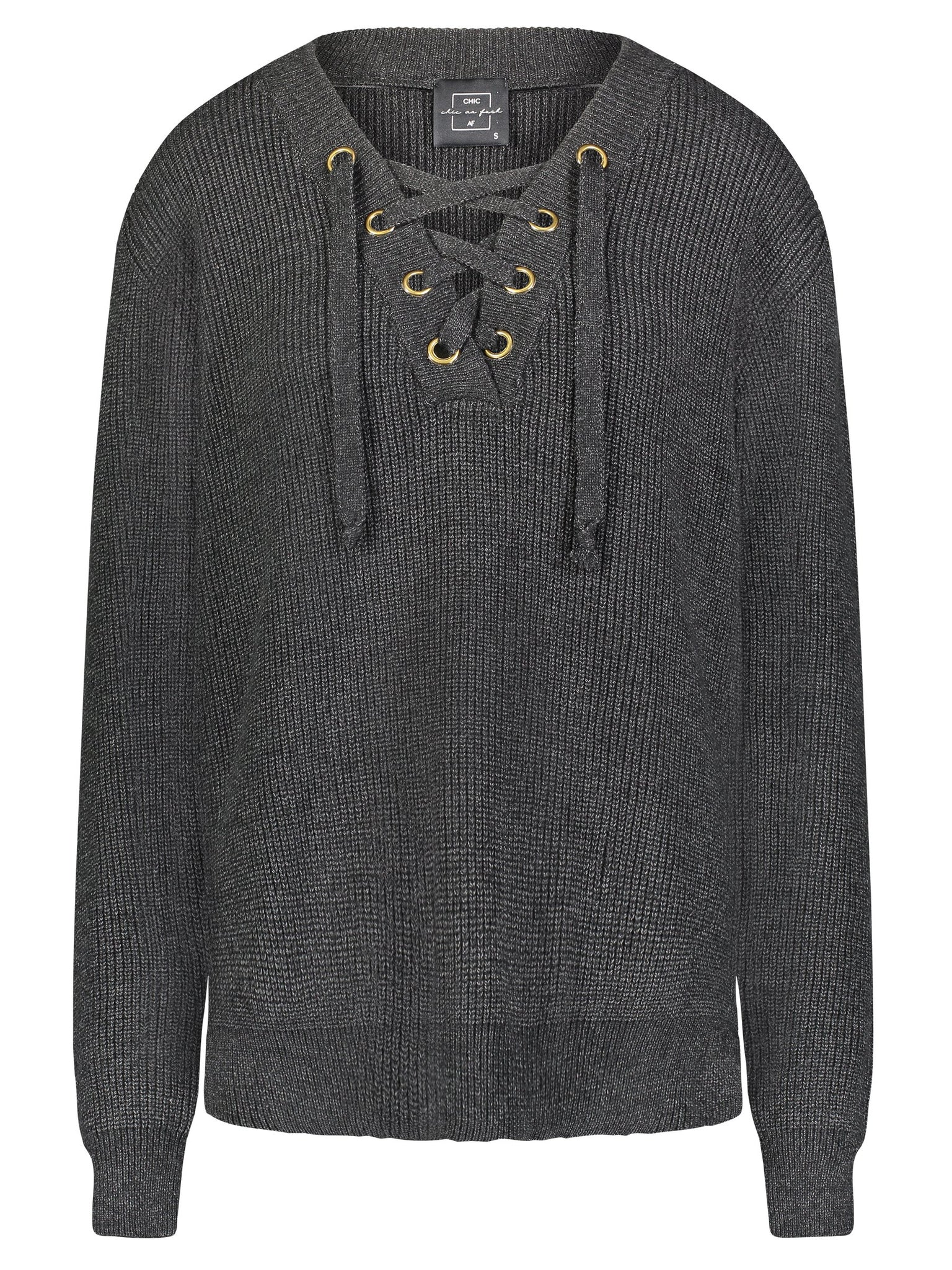 image of Judah Lace-Front Pullover Sweater