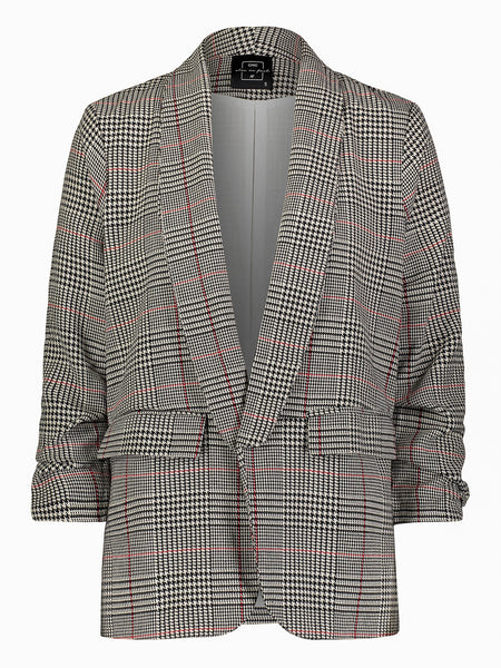 Shrader Ruched Sleeve Fitted Blazer