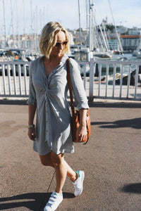 St. Victor Knot Front Shirtdress