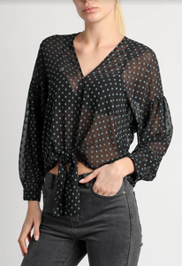 La Madrague Swiss Dot Tie Front Blouse
