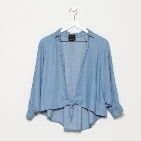 La Timone Tie Front Denim Chambray Top