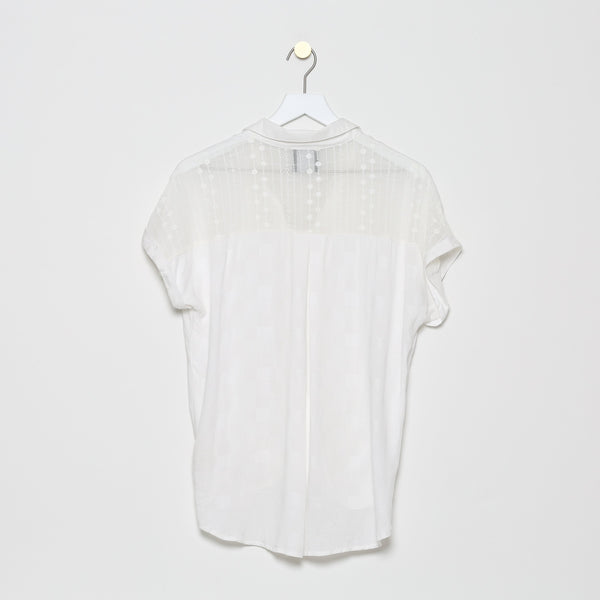 Le Roucas Blanc Gauze Shoulder Crossfront Top