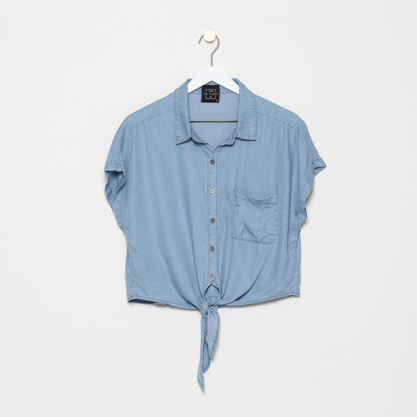 Mazargues Short Sleeve Chambray Top
