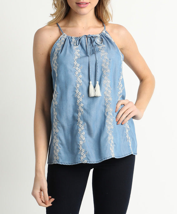 St Charles Embroidered Tank Top with Tassels