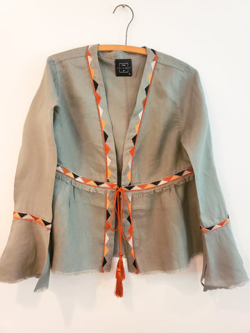 Mucem Embroidered Tie Front Shacket