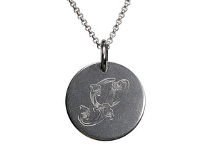 M M Mark - 20 mm, Leaf Script Pendant